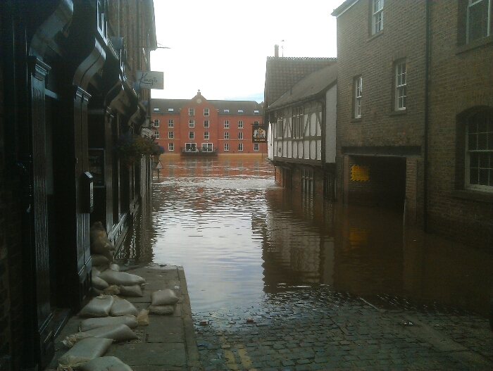 The flooded Kings Arms York.