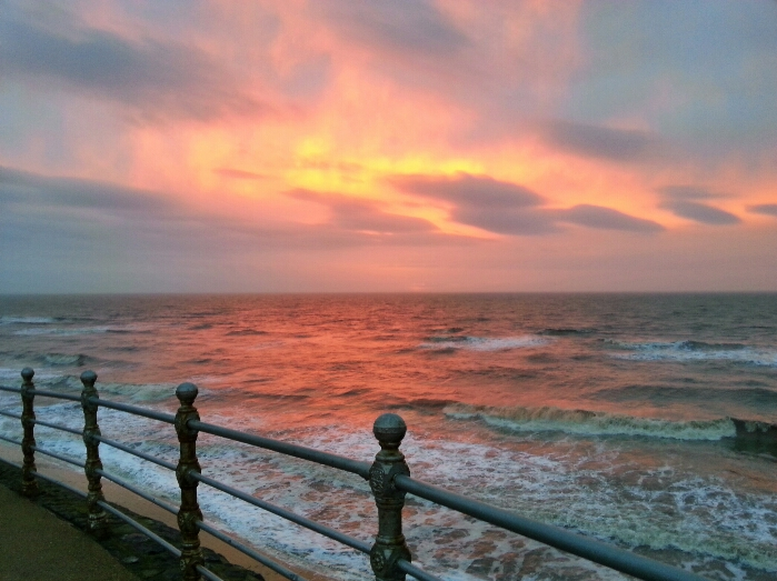 3 Febuary 2013 : Winter sunset by the north pier in Blackpool